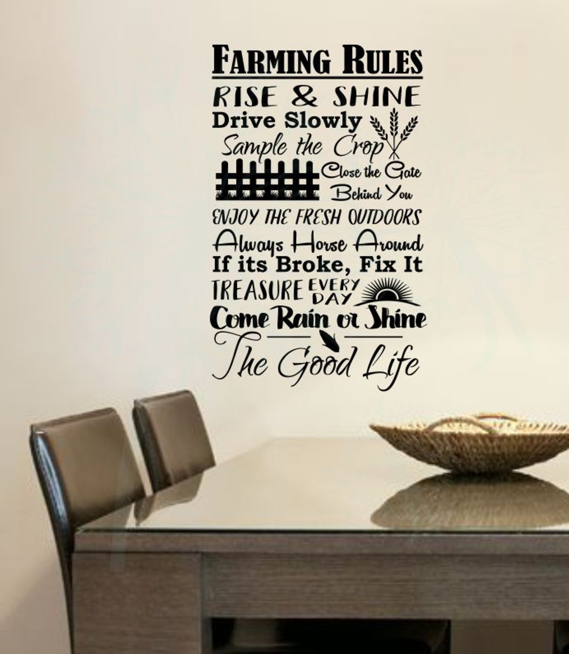 Captivating Farming Rules The Good Life Wall Lettering Vinyl Stickers Decal Quotes Black