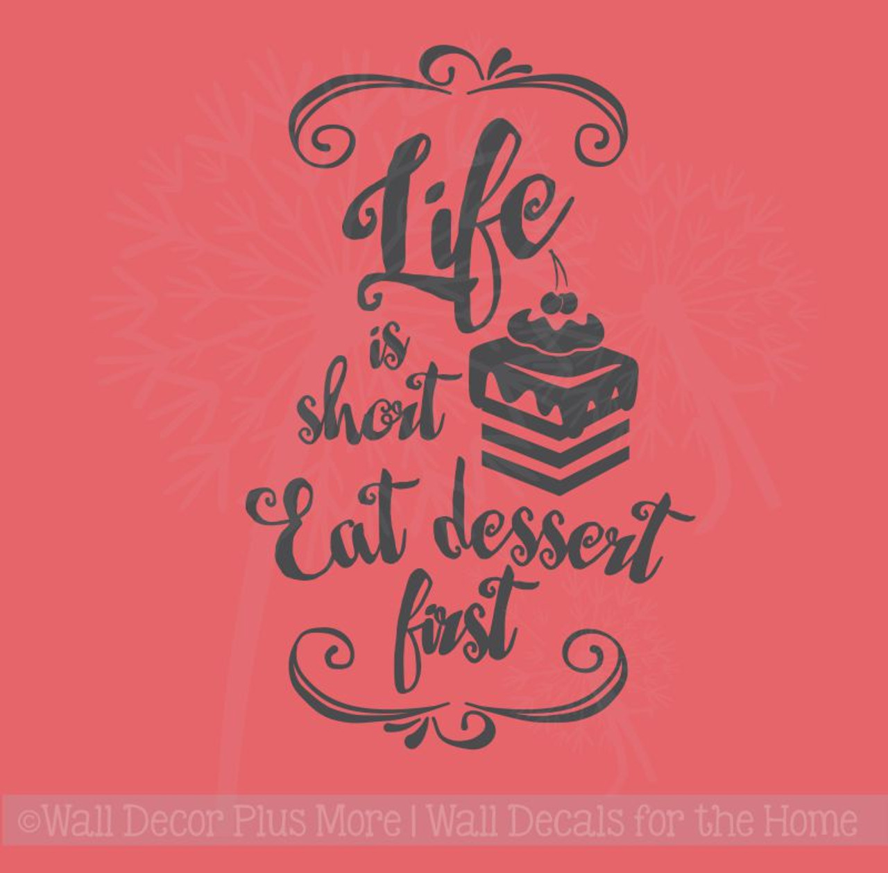 Kitchen Wall Art Kitchen Wall Decal Vinyl Decal Life Is Short Eat Dessert First Funny Wall Decal Funny Kitchen Sign Wall Decal
