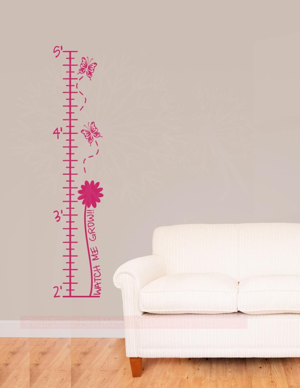 butterflies flowers height chart for girls wall growth chart ruler sticker