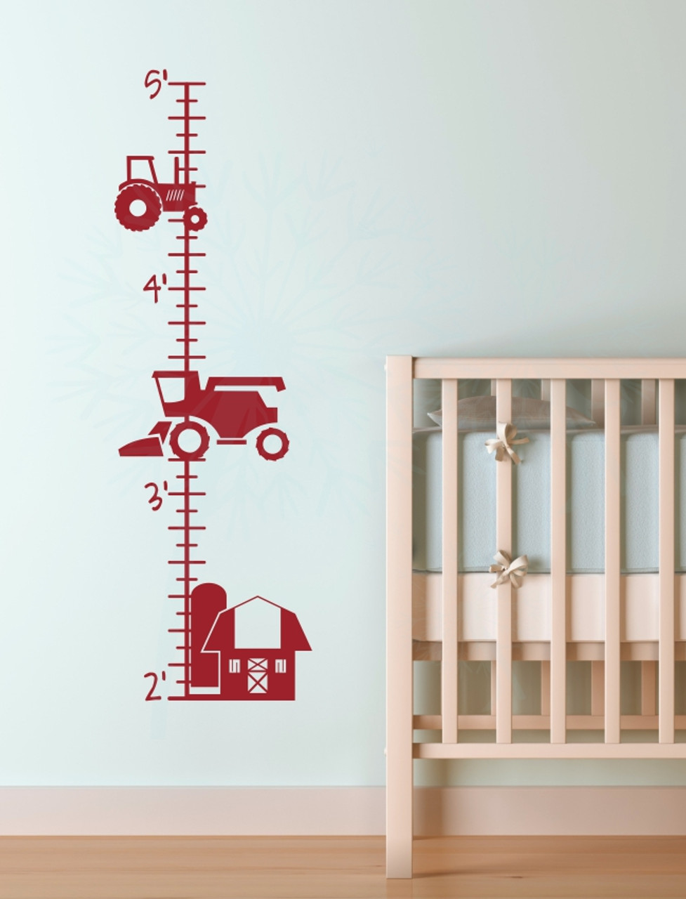 farm tractor height growth chart ruler wall decal sticker for boys