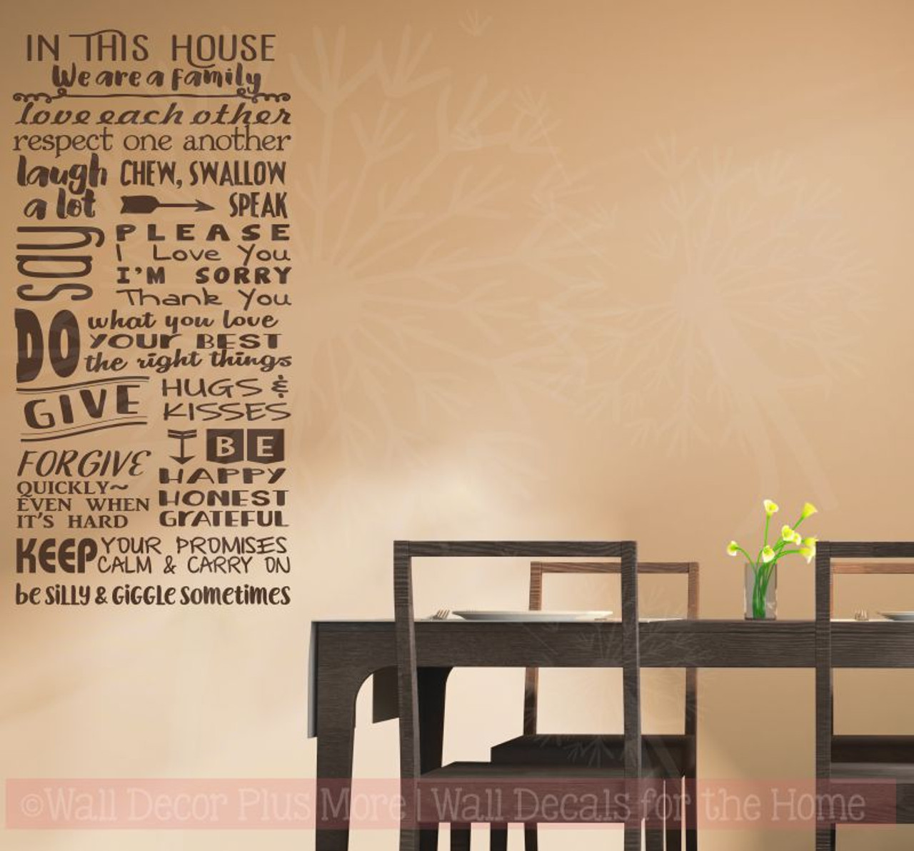 In This House We Are A Family Wall Decor Vinyl Lettering Decals Kitchen  Wall Stickers