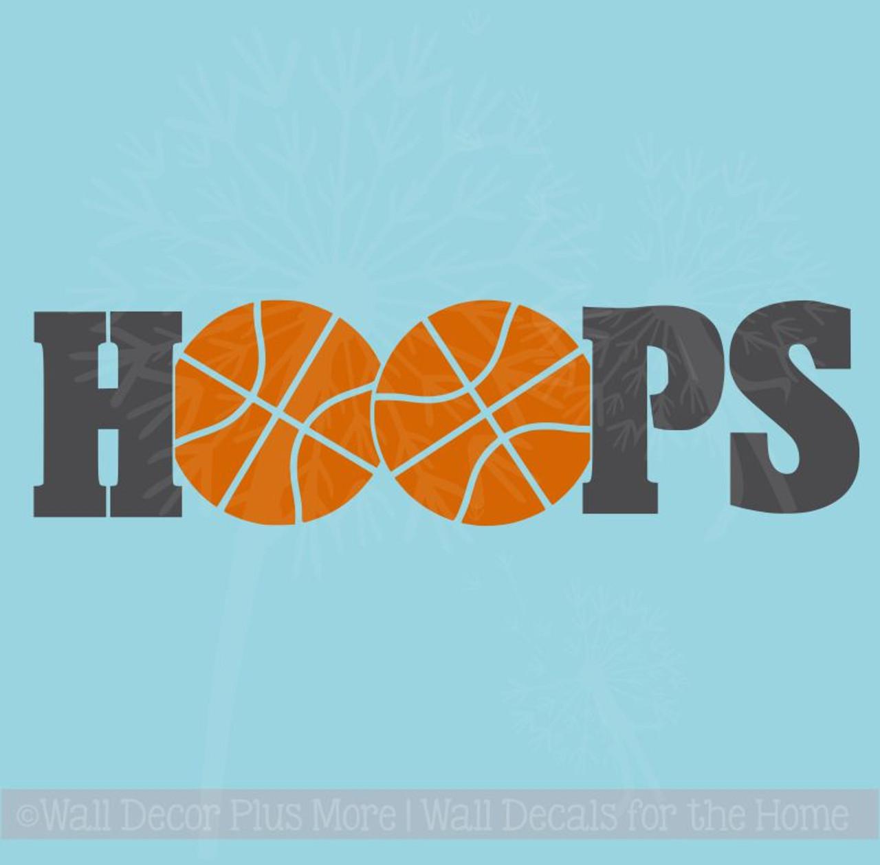 HOOPS Basketball Vinyl Lettering Wall Sticker Art Teen Sports Decals  Bedroom Decor