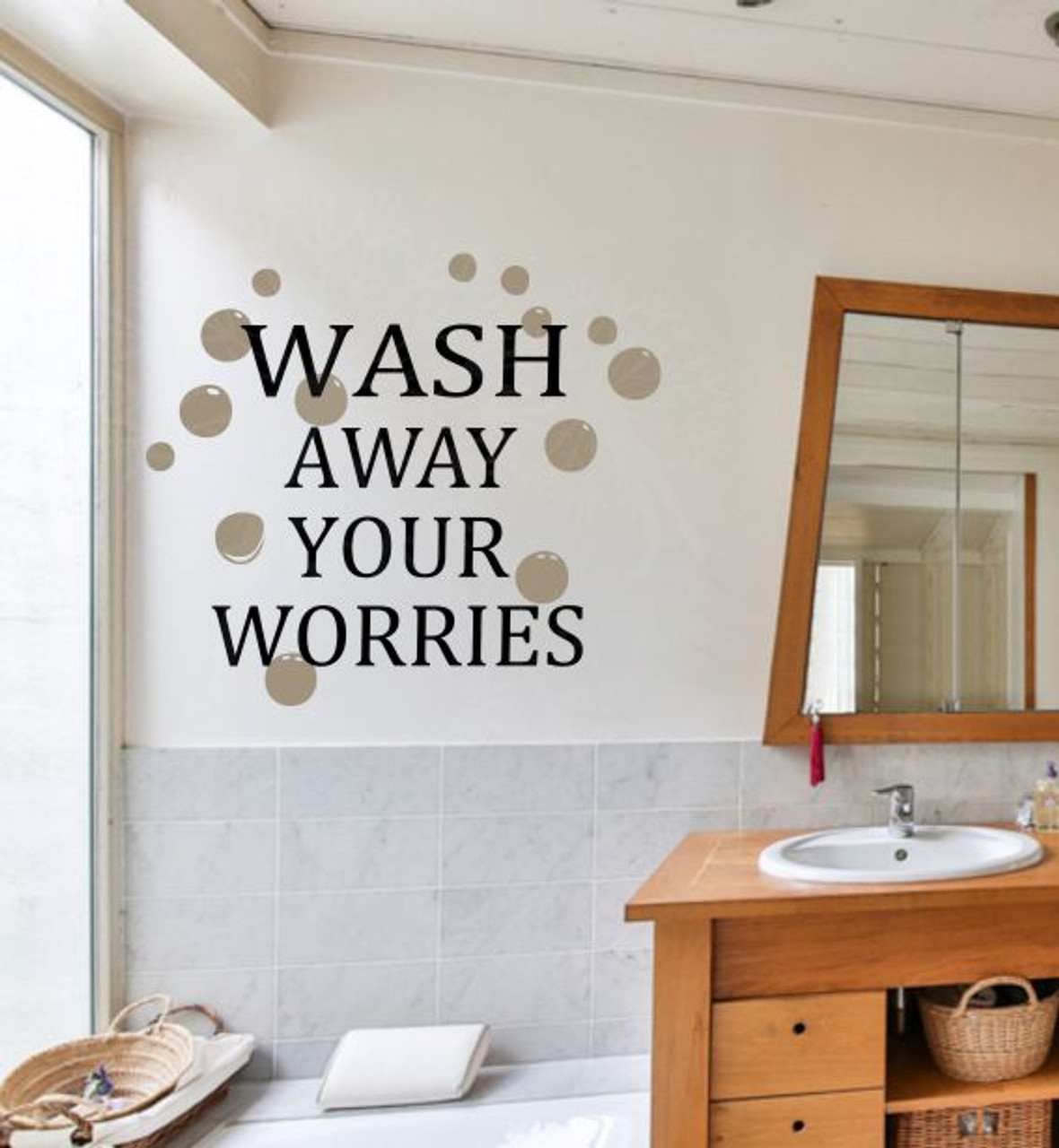 wash away your worries vinyl lettering bubbles art bath wall decals