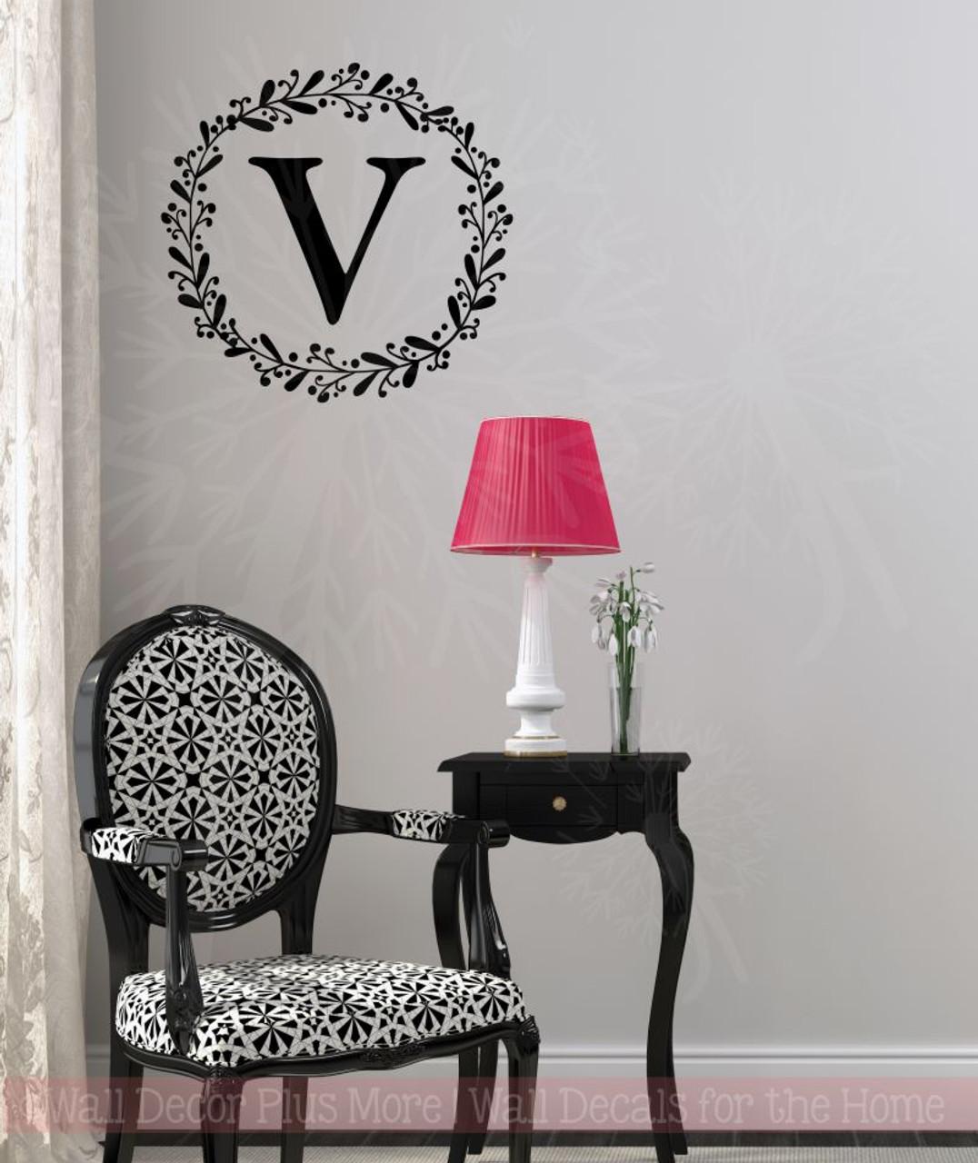 laurel wreath monogram letter vinyl stickers wall decals custom