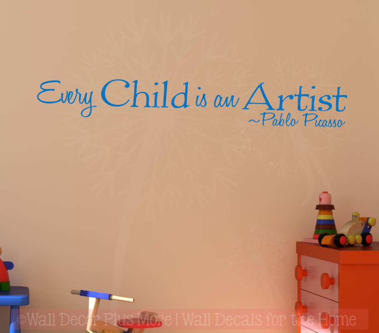 every child is an artist, pablo picasso vinyl letters wall stickers