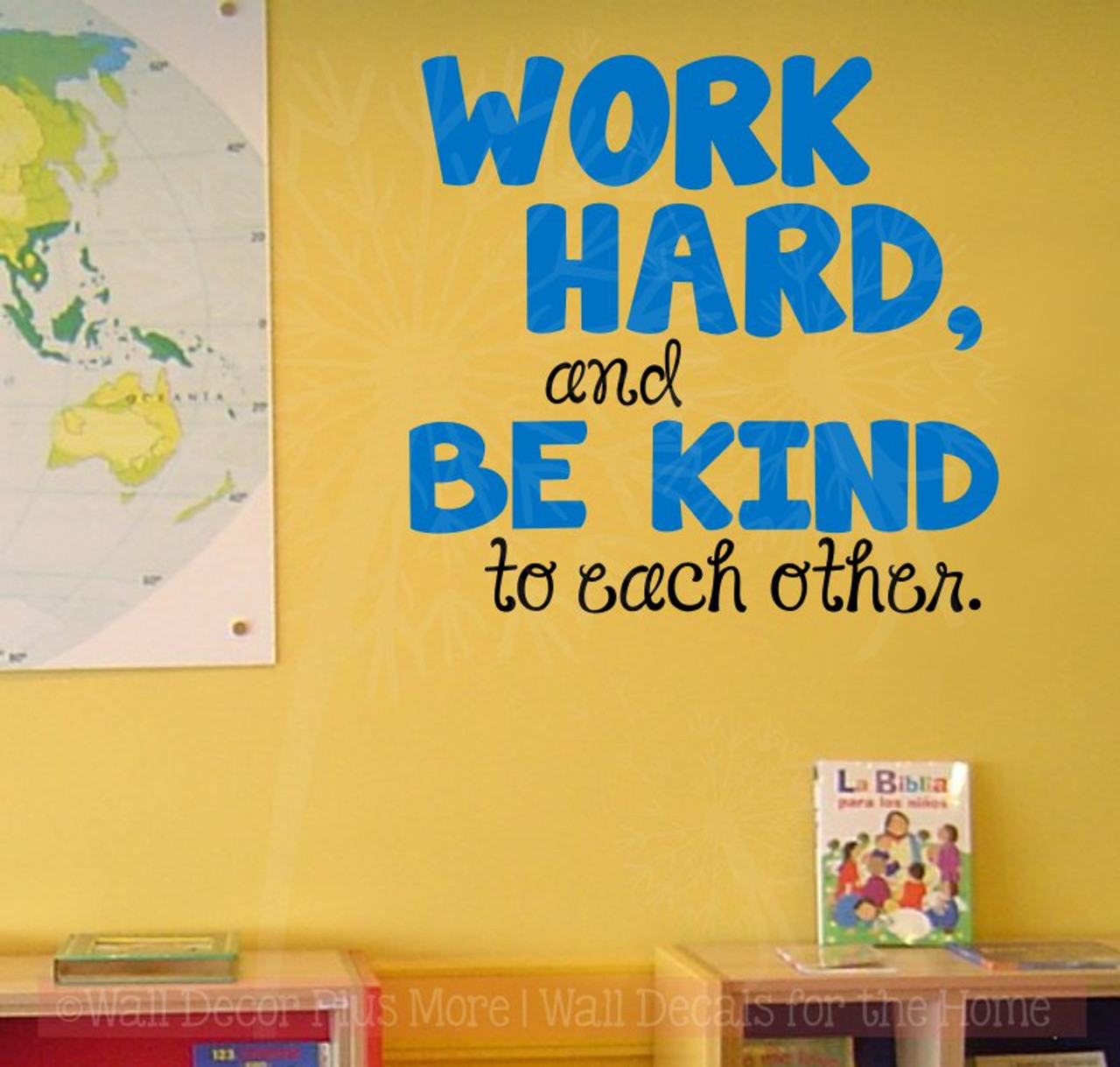 work hard, be kind to each other vinyl letters wall stickers decal