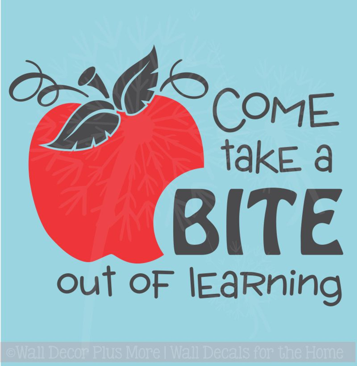 take a bite out of learning with apple wall vinyl decals sticker