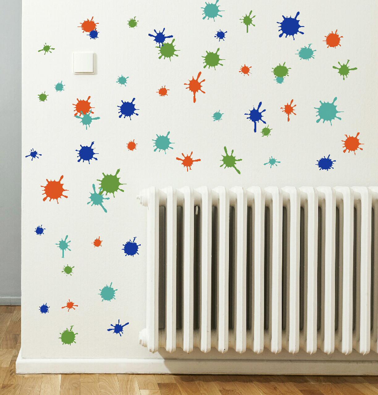 splatter and splotches wall art vinyl stickers easy room decor, 13pc