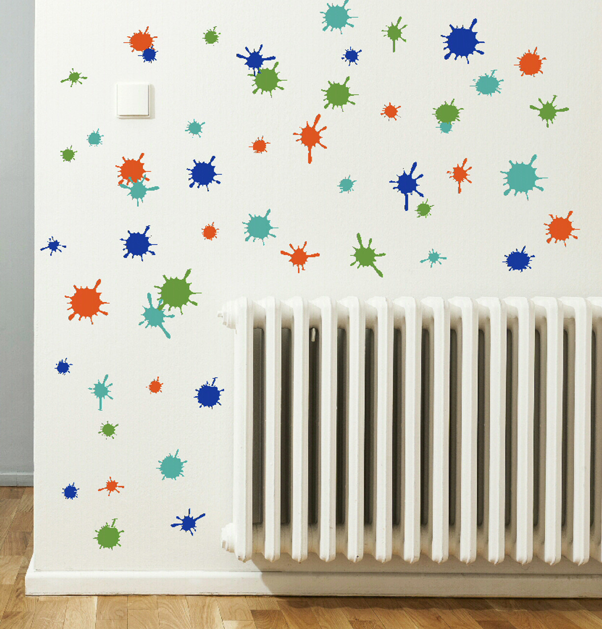 Turquoise Orange Traffic Blue Olive Green Mud Paint Splatter Vinyl Wall  Stickers Shapes For Daycare,