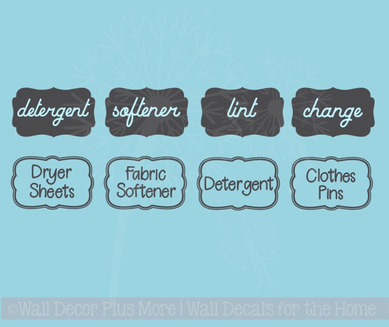 laundry room labels wall art jar stickers set of 4 vinyl decals, 2
