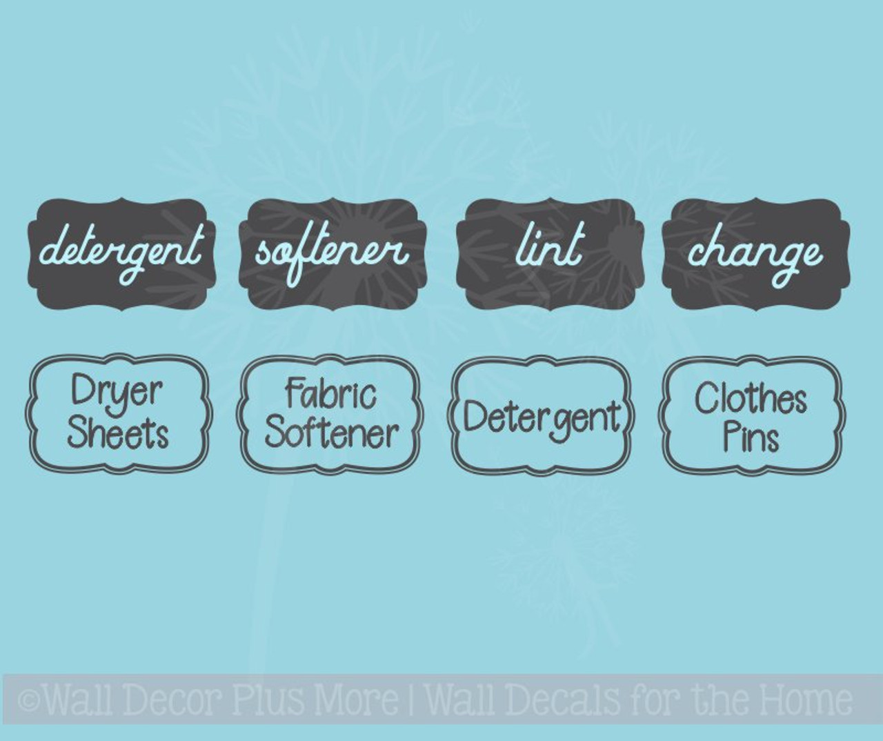 laundry room labels wall art jar stickers set of 4 vinyl decals, 2