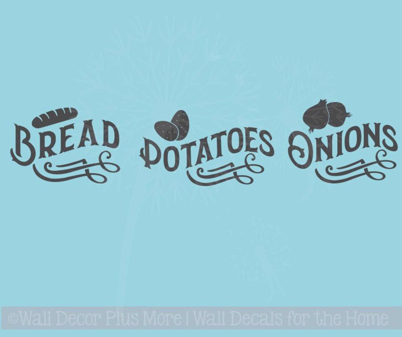 Bread Potatoes Onions Vinyl Stickers Label Kitchen Storage