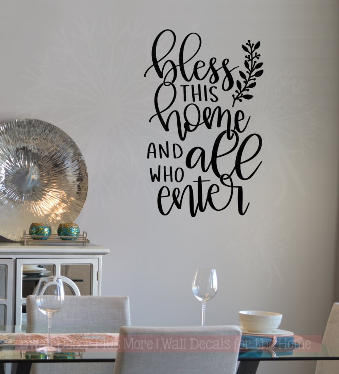bless this home all who enter entry vinyl letters decals kitchen wall