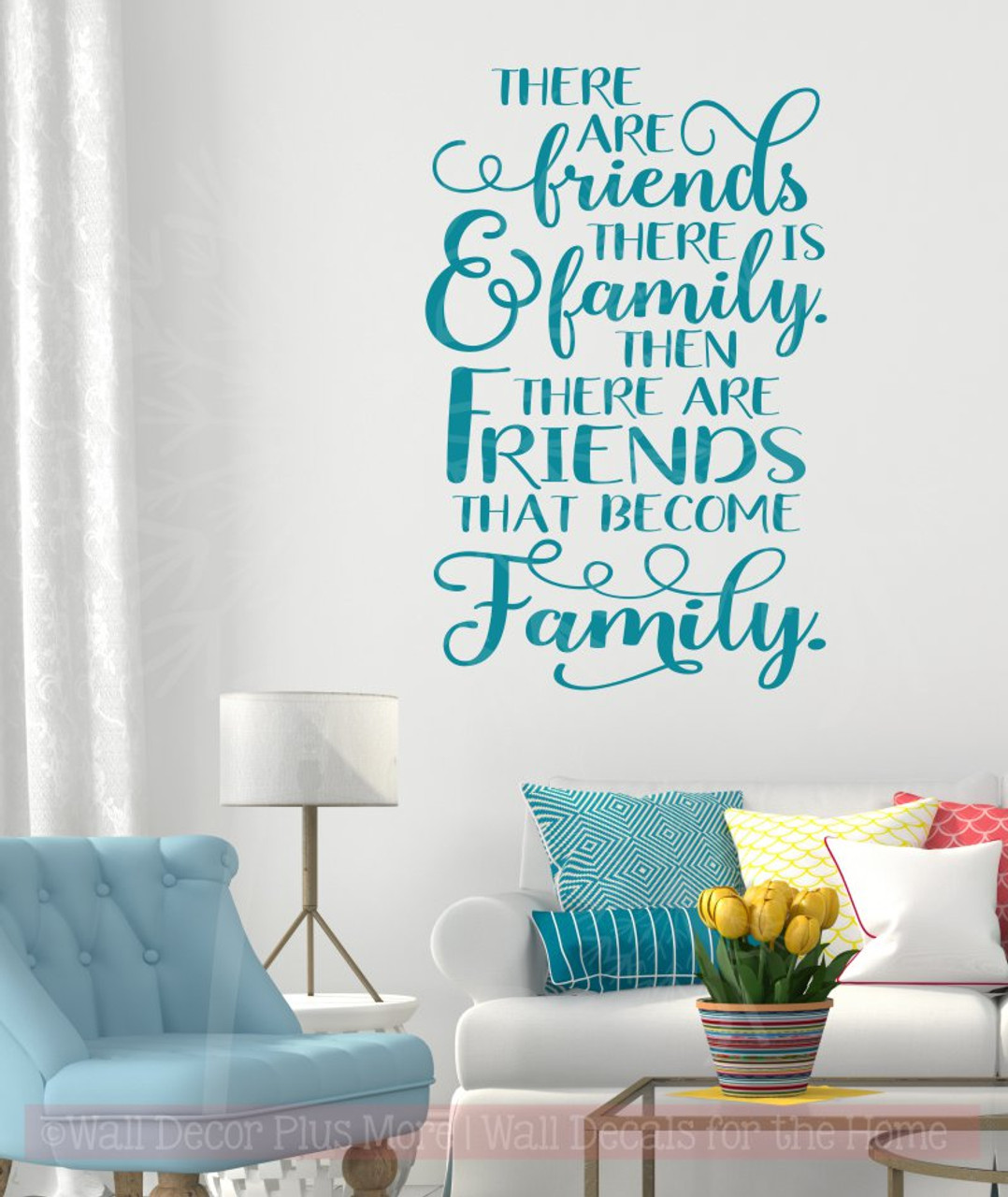 Elegant Friends Become Family Quotes Wall Decals Vinyl Lettering For Home Decor Teal