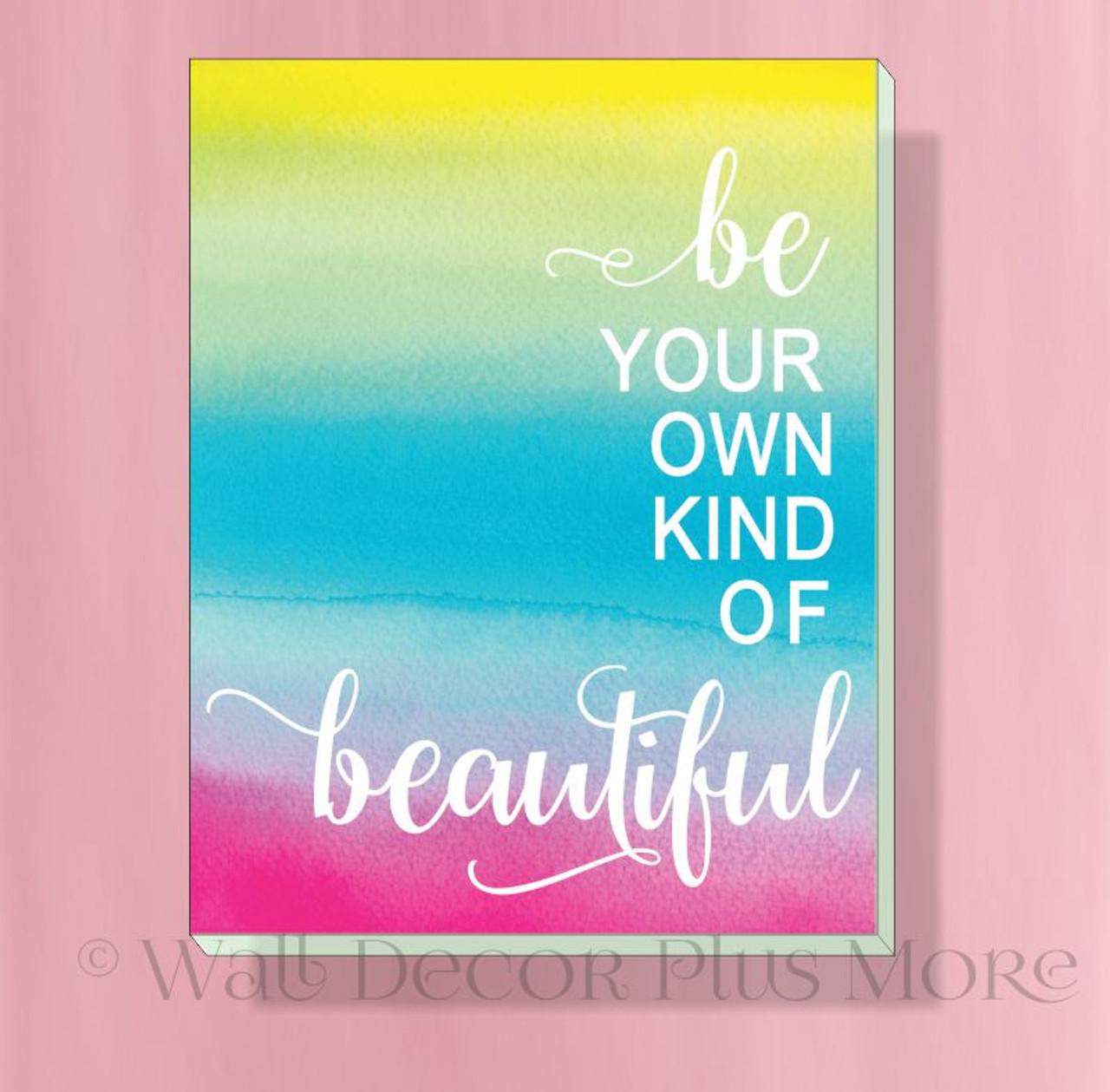 Be Beautiful 12x14 Lighweight Motivational Canvas Print Girl Bedroom Wall Decor