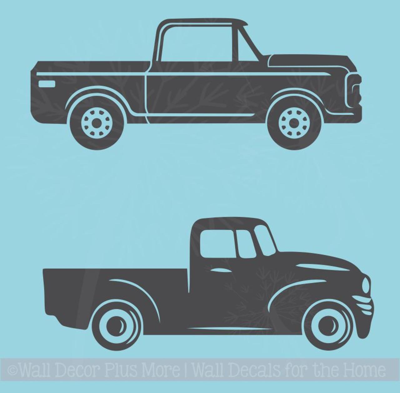 2 antique vintage trucks vinyl art stickers old pickup wall decals