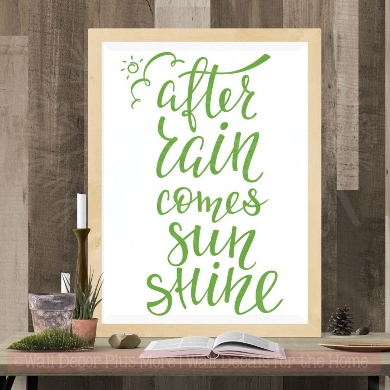 After Rainsunshine Vinyl Lettering Stickers Motivational Wall Quote
