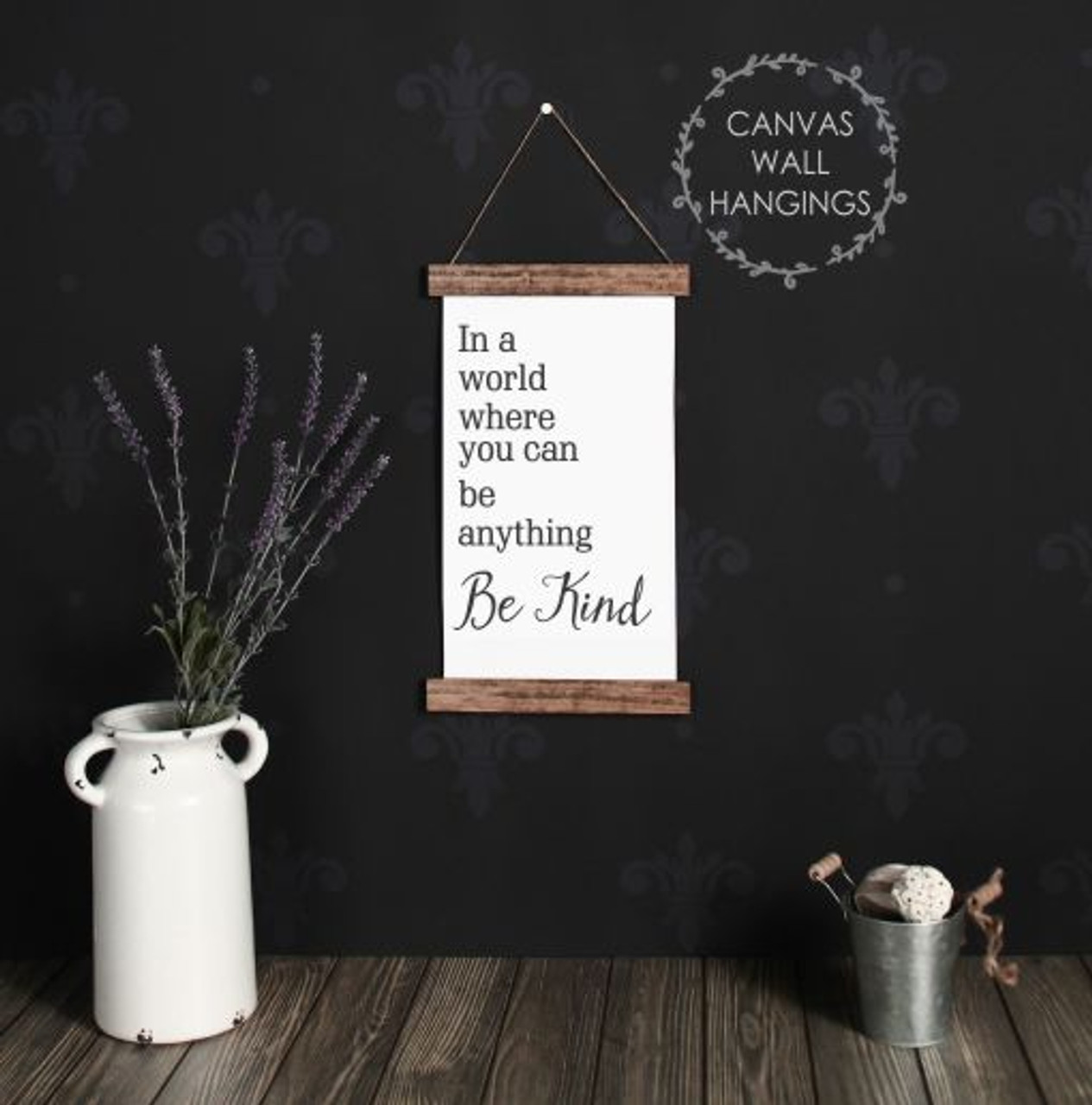 Wood Canvas Wall Hanging In A World Be Kind Bathroom Wall Art Print