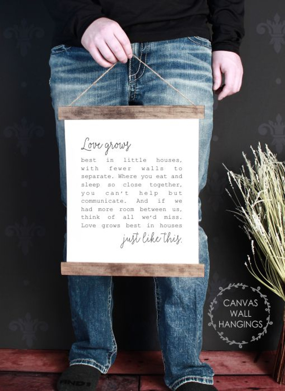 Wood Canvas Wall Hanging Love Grows Best Little Houses Wall Art