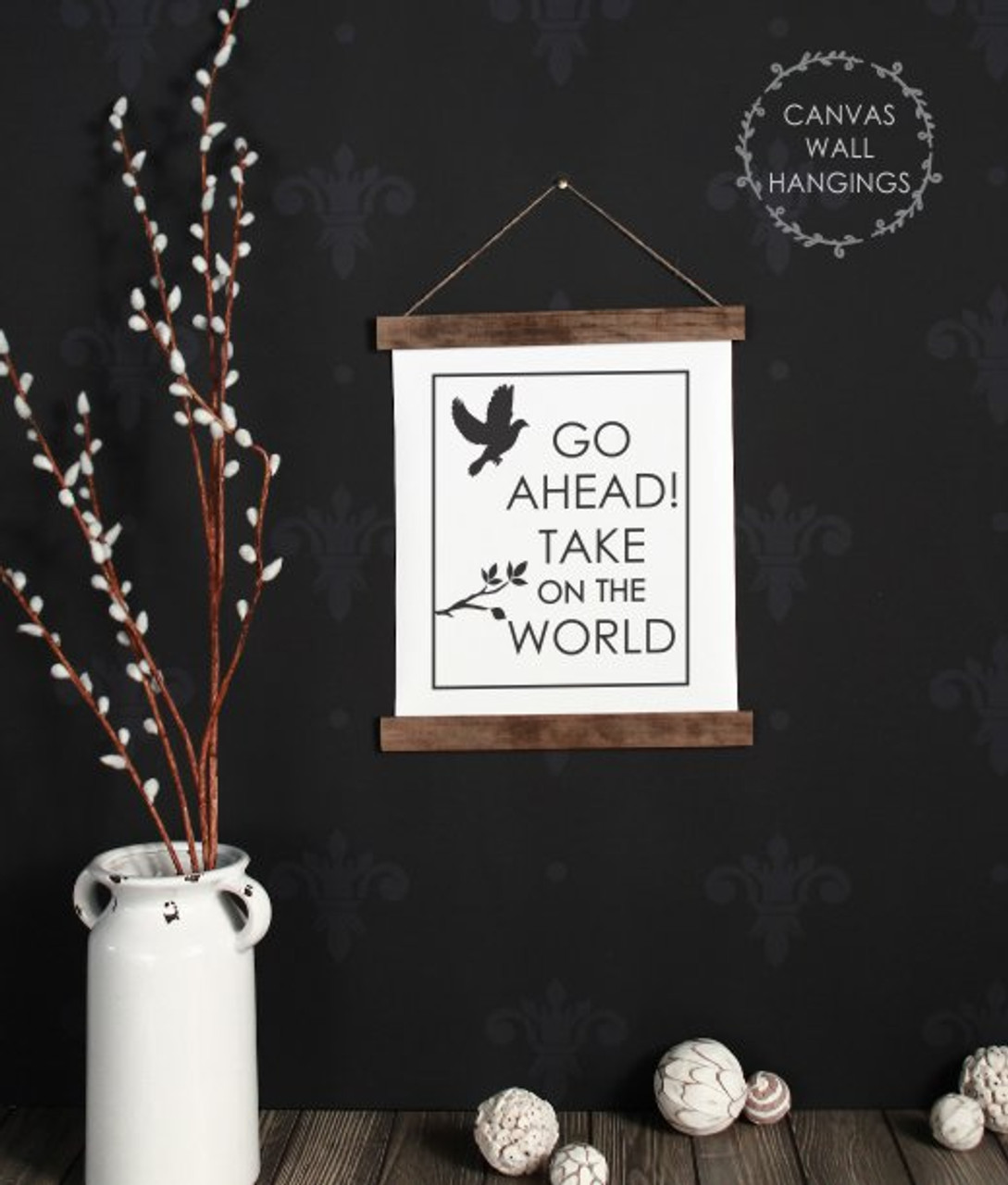 Wood Canvas Wall Hanging Baby Nursery Wall Art Take On The World