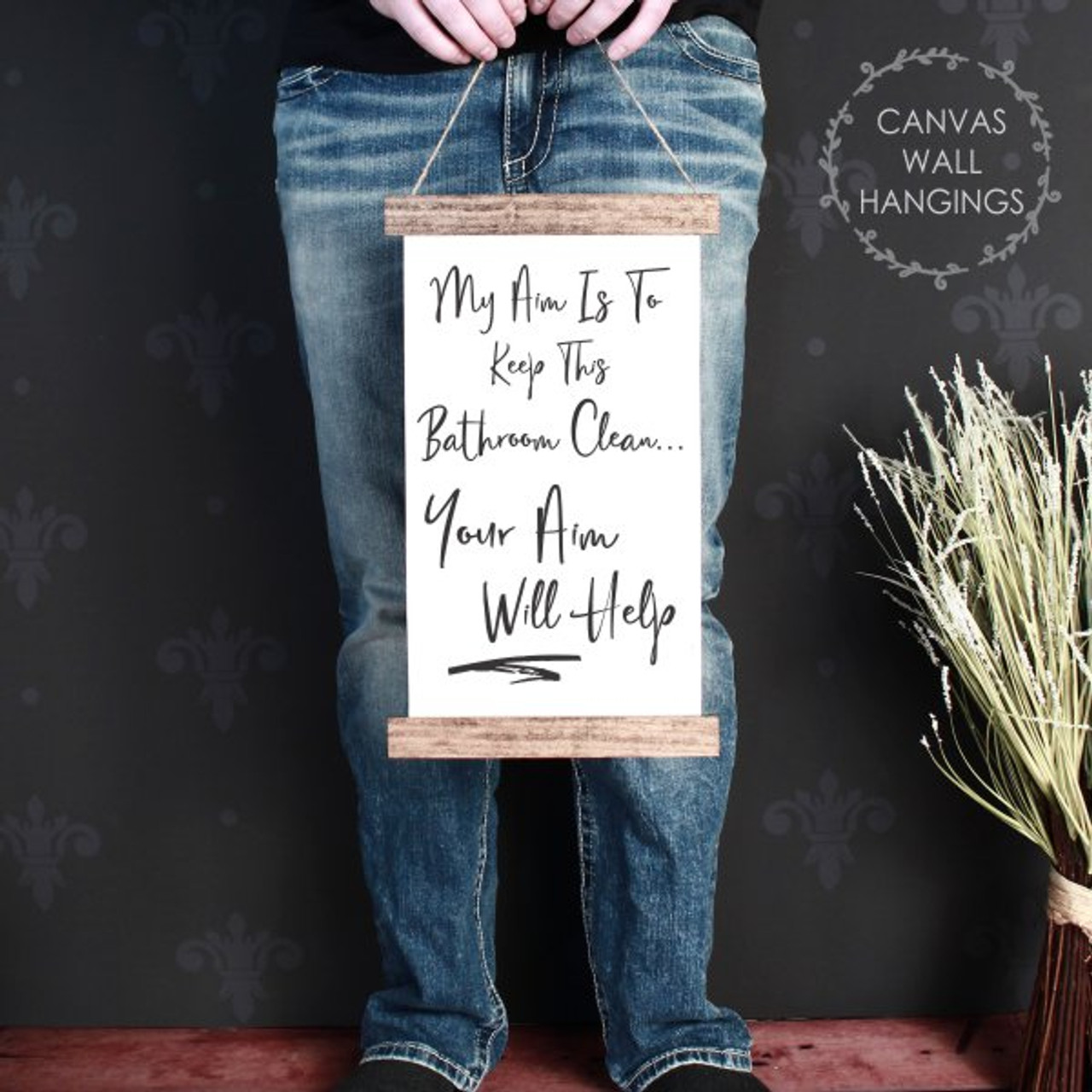 Your Aim Quote Funny Boys Bathroom Decor Wall Hanging Wood Hanging Canvas Sign