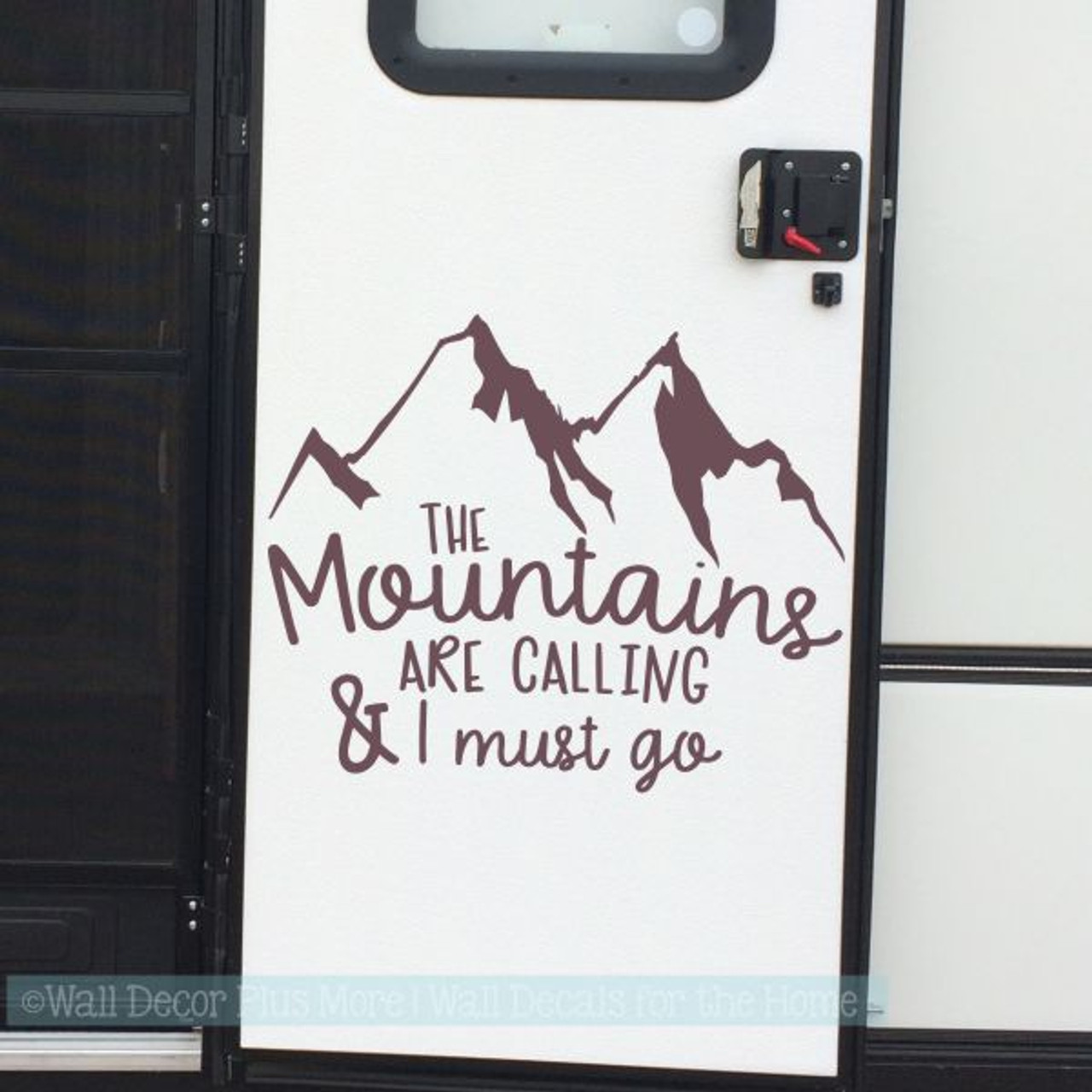 Motor home decals mountains are calling camper art lettering rv stickers eggplant