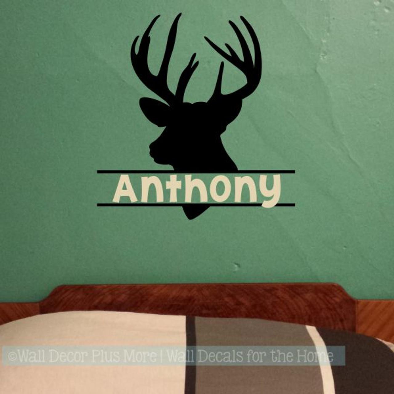 Boy Bedroom Wall Decals Deer Antlers Hunting Stickers Custom ...