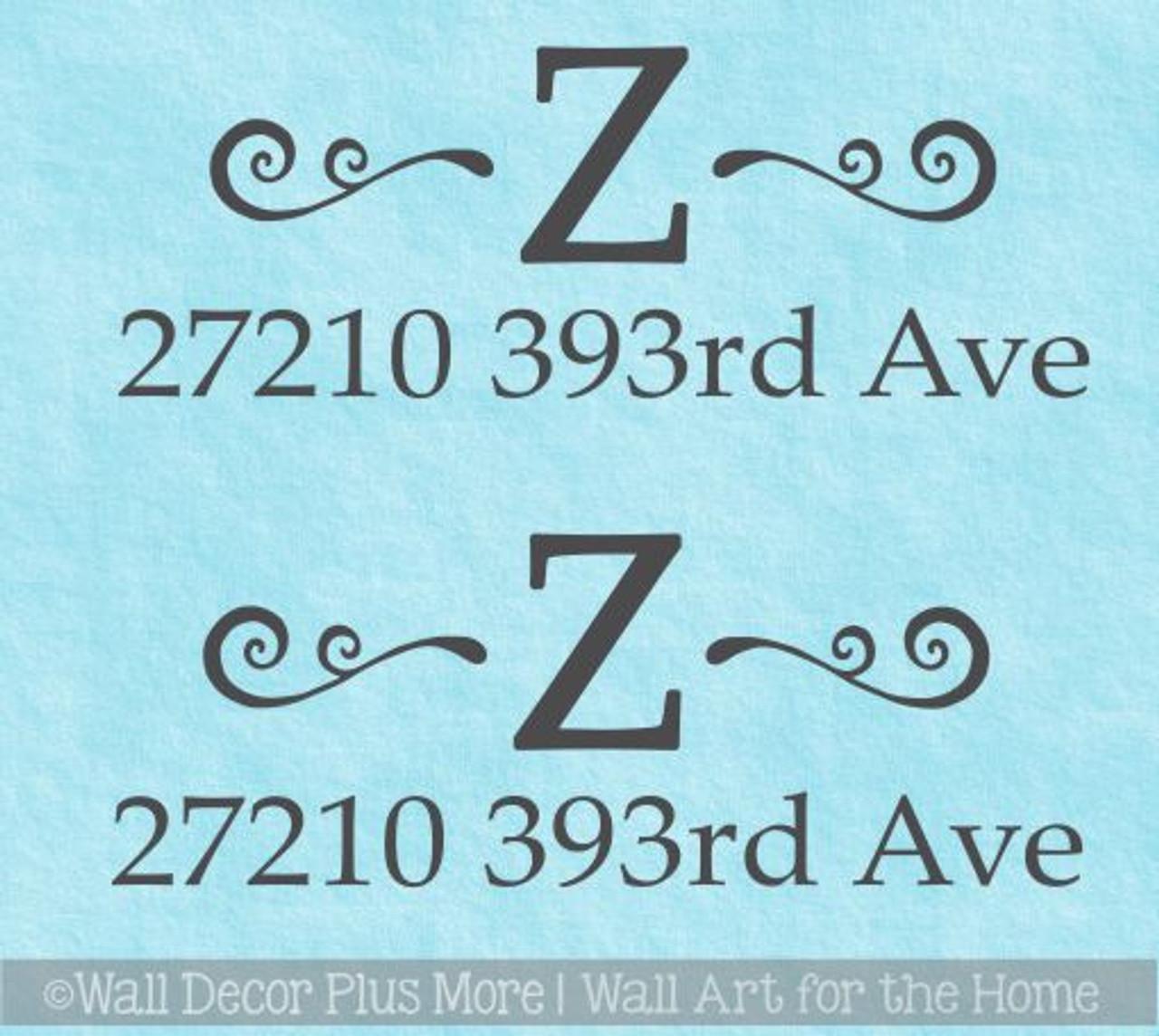 Custom Mailbox Decals Personalized Monogram Swirl Address Stickers