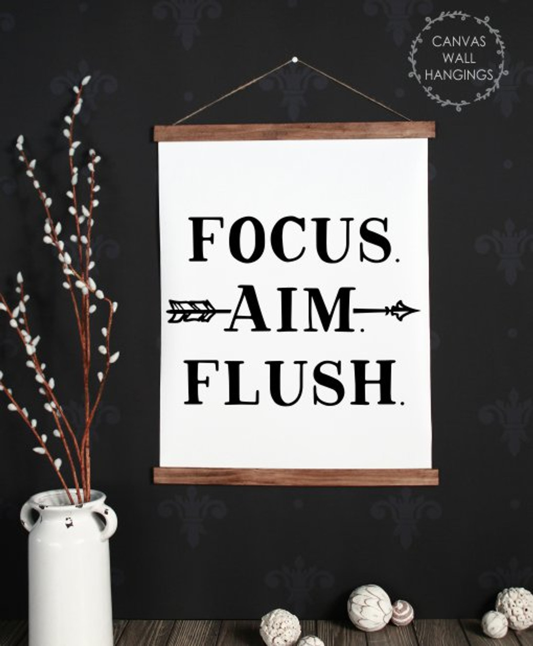 Wood Canvas Wall Hanging Bathroom Wall Art Sign Focus Flush