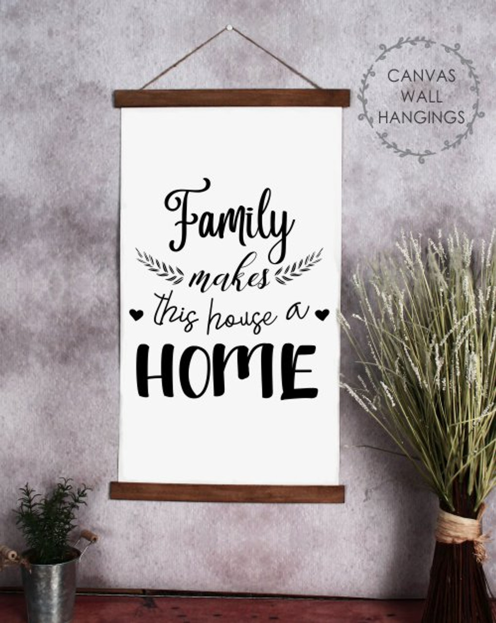 Wood Canvas Wall Hanging Quote Wall Art Sign Family House A Home