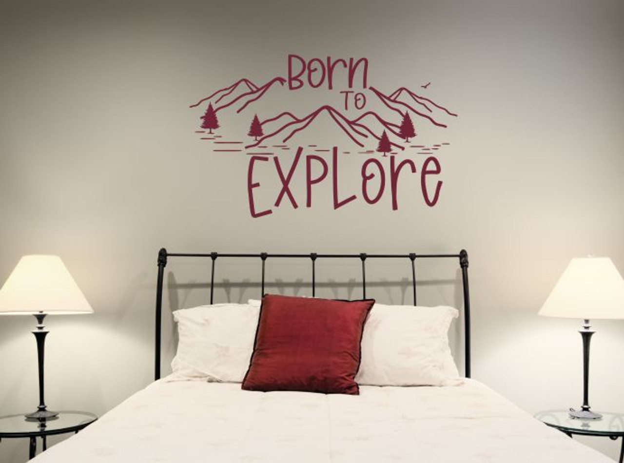 Born To Explore Wall Art Decal Mountains Sticker Travel Camper Rv Decor