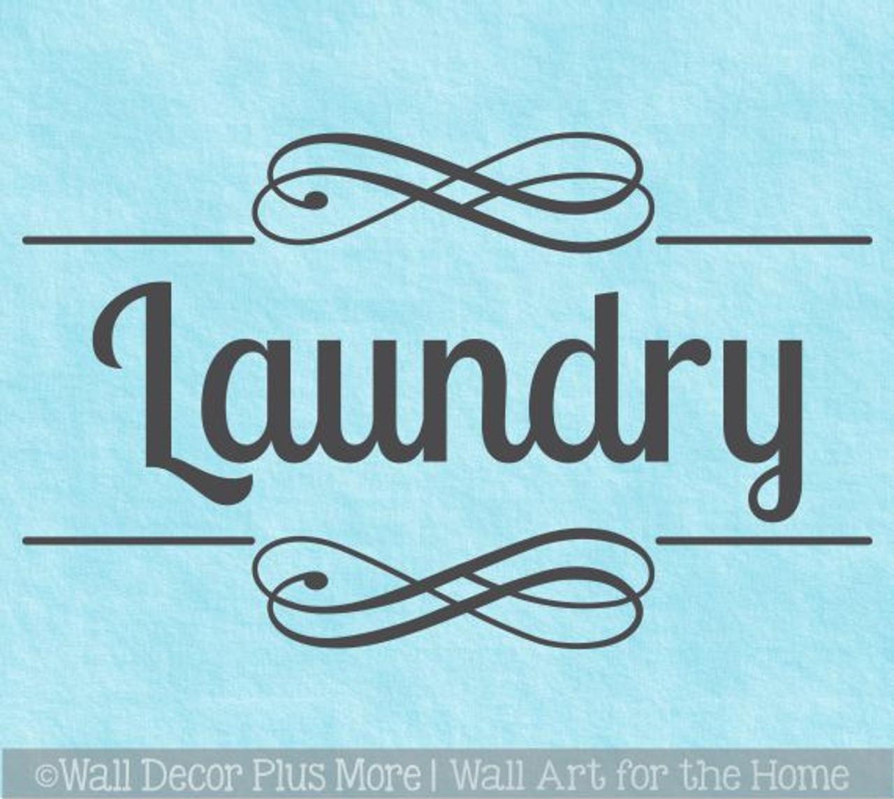 Laundry Room Decals Door Wall Sticker With Swirls Word Vinyl Art Decor
