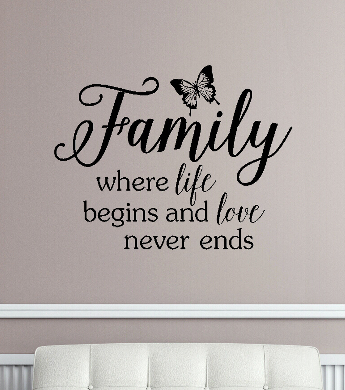 family where life begins and love never ends wall decals vinyl