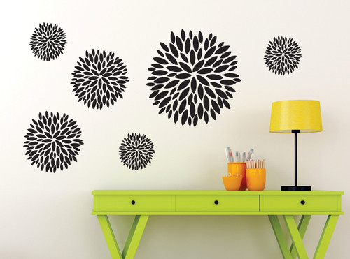 Floral Burst Vinyl Sticker Wall Decals Girl's Room Decor-Black