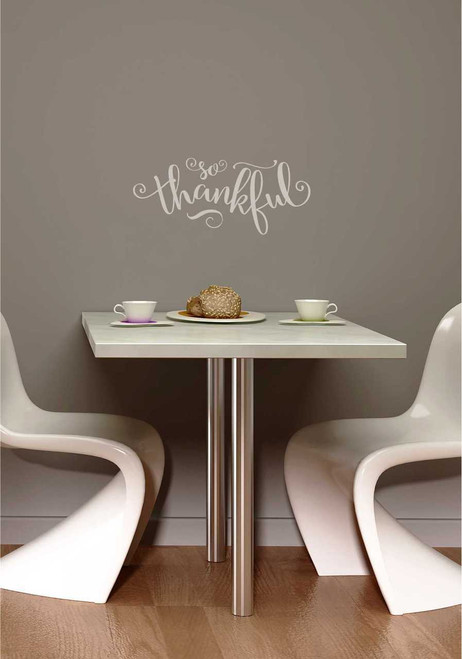"Fall Vinyl Wall Decals Lettering ""So Thankful"" Quote for Home Decor"