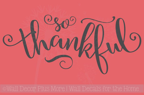 So Thankful Elegant Lettering Vinyl Wall Decals Thanksgiving Home Decor