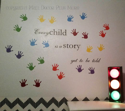 Handprint Design Vinyl Wall Decals, Classroom, Daycare, Children's Room Decor