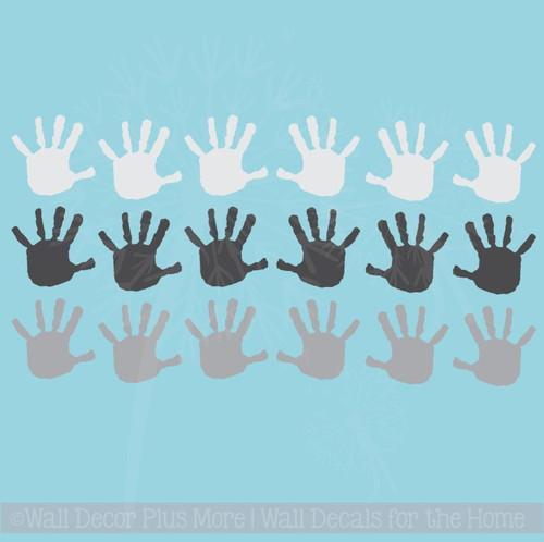 Wall Decals Handprint Kids Hand Vinyl Stickers for classroom, daycare, preschool