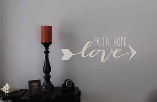 Faith Hope Love with Arrow Design Religious Vinyl Wall Decals Saying