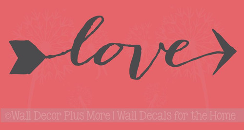 Love Vinyl Wall Decals Lettering with an Arrow, Stickers for Home Decor