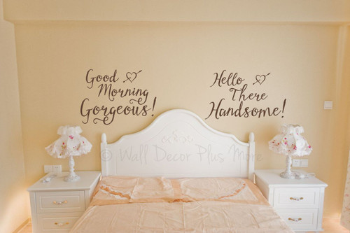 Hello There Handsome Vinyl Wall Decal Saying for the Master Bedroom-Chocolate Brown