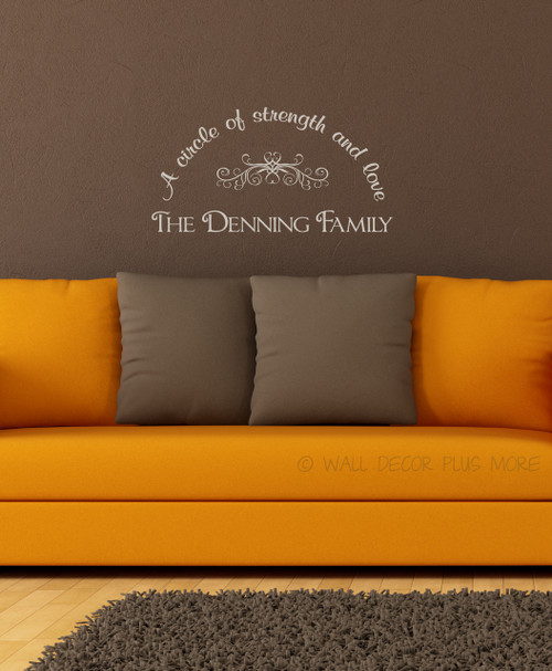Personalized Last Name Vinyl Wall Decal with family saying, A circle of strength and love-Warm Gray