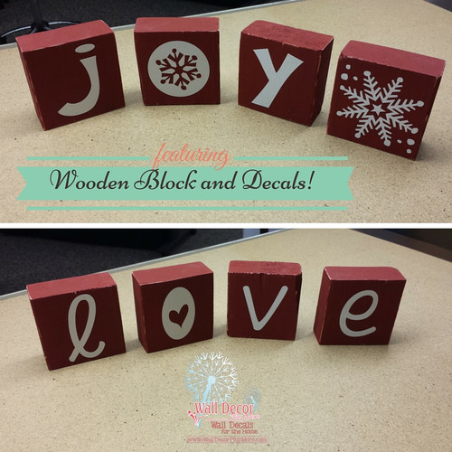 Wooden Blocks DIY Project with Joy and Love Vinyl Words, Use for Winter and Valentine's Decor