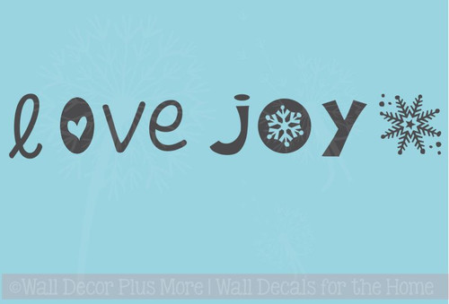 Love and Joy Vinyl Sticker Winter Decals for Wooden Blocks