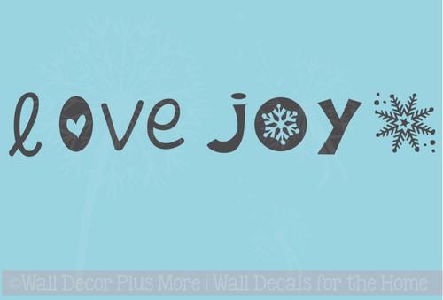 Love and Joy Vinyl Sticker Winter Decals for Wooden Blocks