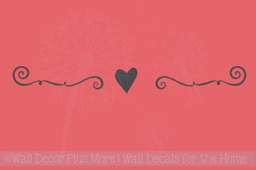 Swirl Design with Heart Vinyl Wall Decal Great with Photo Frames