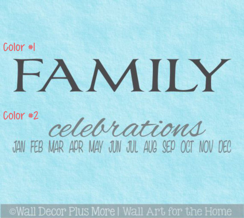 Family Celebrations Vinyl Decals Sticker, Great for a DIY Board