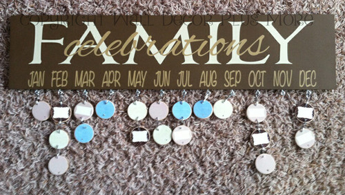 Family Celebrations Lettering on a completed DIY Board Beige Family Tan Months