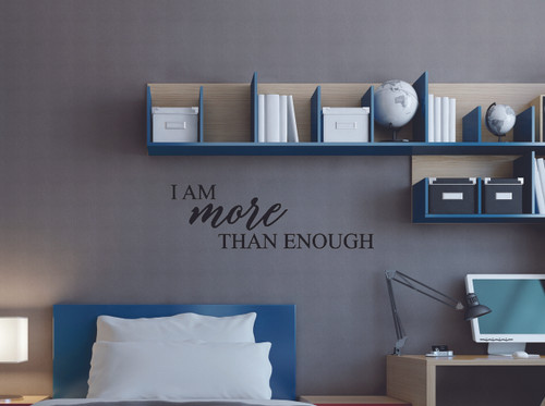 Inspirational Quotes I am more than Enough Quote Vinyl Wall Decals Lettering-Black