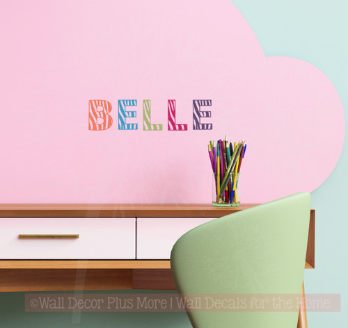 3 inch Zebra print alphabet letters used to spell out a name on a desk, Coral, Bayou Blue, Olive, Hot Pink, Eggplant